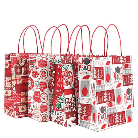 12pcs Christmas Kraft Paper Red White Gift Bags | Gift Decor | All For Xmas - All For Xmas