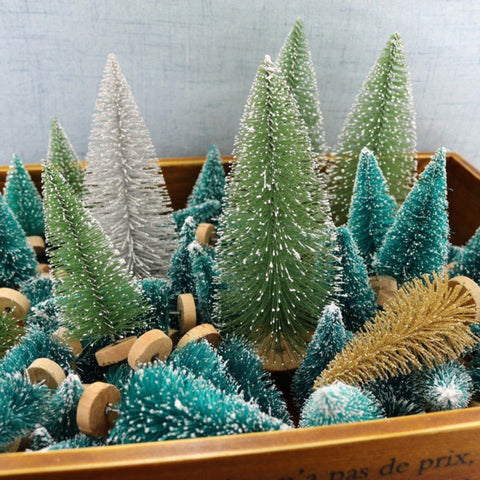 12PCS Small DIY Christmas Tree Fake Pine Tree | Christmas Village Decor | All For Xmas