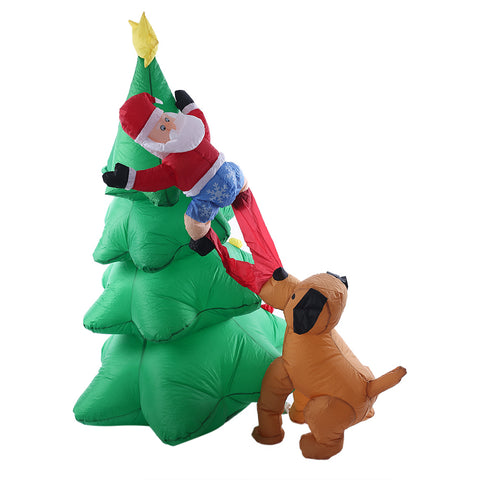 1.8M-6FT Inflatable Giant Christmas Tree With Santa And Puppy LED Lighted | Outdoor Decor | All For Xmas