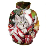 Allover Print Christmas Hoodie - Santa Cat | Christmas Apparel | All For Xmas