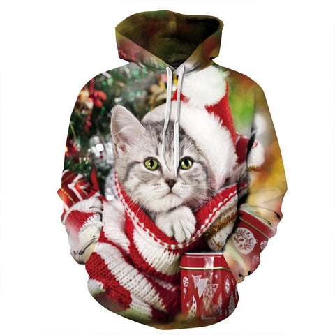 Allover Print Christmas Hoodie - Santa Cat | Christmas Apparel | All For Xmas - All For Xmas