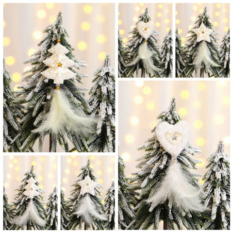 Star, Heart, Tree White feather | Christmas Tree Decoration Ornaments | All For Xmas - All For Xmas