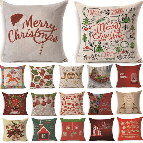 Traditional Christmas Cotton Pillow Case Cushion Cover - Multiple Designs | Home Decor | All For Xmas
