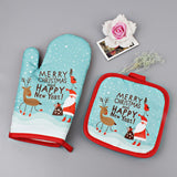 Oven Mitts Set | Christmas Baking Anti-Hot Gloves And Pad Oven And Microwave Insulation Mat | All For Xmas