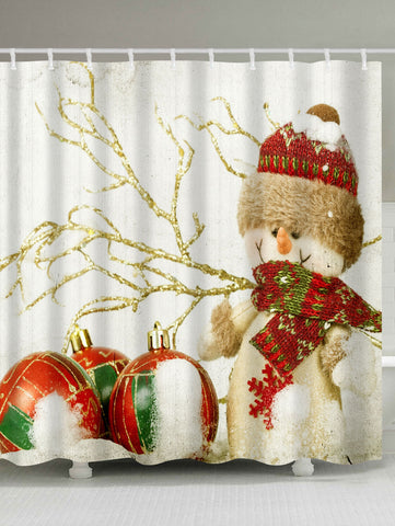 Christmas Snowman Print Waterproof Bath Curtain | Bathroom Decor | All For Xmas
