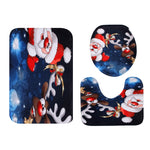 Santa - Reindeer Pattern Toilet Seat Cover Set | Bathroom Decor | All For Xmas