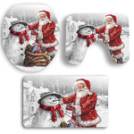 Santa - Snowman Pattern Toilet Seat Cover Set | Bathroom Decor | All For Xmas