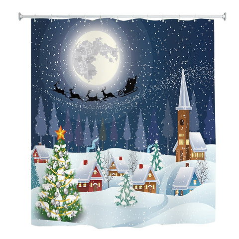 Christmas Snowy Village Print Waterproof Bath Curtain | Bathroom Decor | All For Xmas