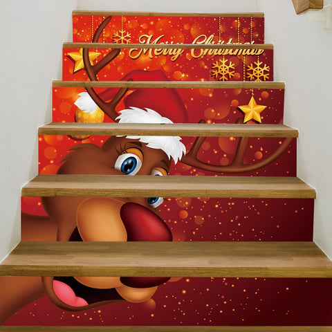 Christmas ReinDeer Pattern Decorative Stairs Stickers | Home Decor | All For Xmas