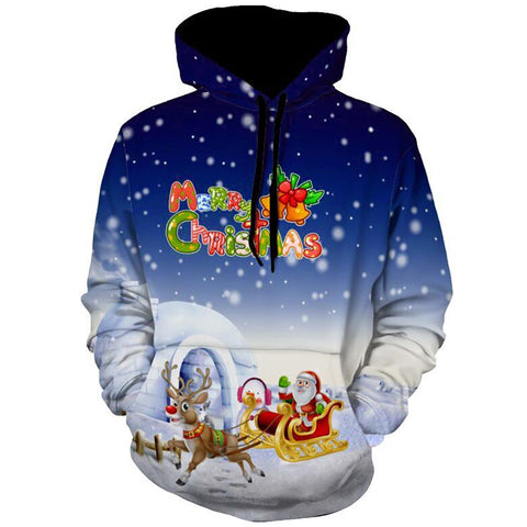 Allover Print Christmas Hoodie - Santa Reindeer Sleigh | Christmas Apparel | All For Xmas