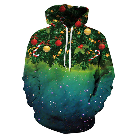 Allover Print Christmas Hoodie - Christmas Tree Decorations | Christmas Apparel | All For Xmas - All For Xmas