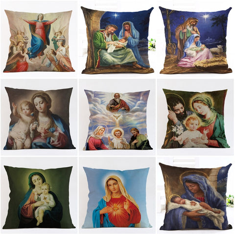 45cm-18in Nativity Scene Cotton Pillow Cases | Christmas Decor | All For Xmas