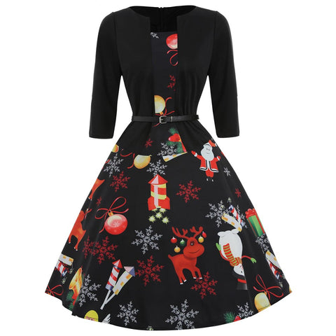 Black Christmas Print Dress | Three Quarter Belted Dress | Christmas Apparel | All For Xmas