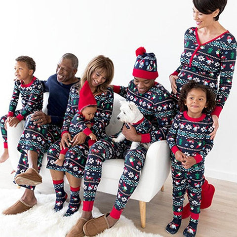 Christmas Family Matching Pajamas - Black Ornaments | Christmas Apparel | All For Xmas