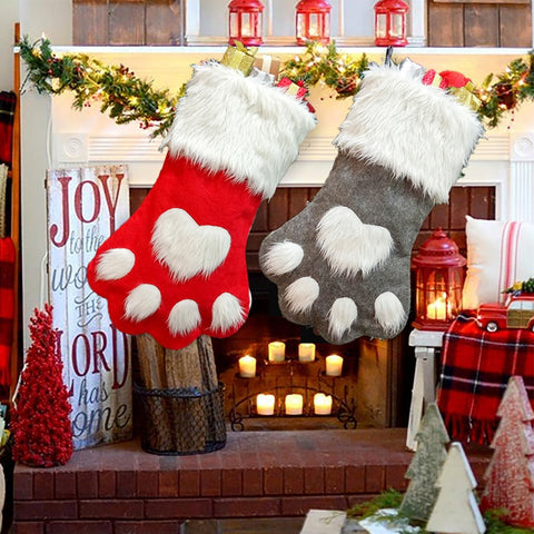 Large Christmas Cat Dog Paws Furry Stockings | Home Decor | All For Xmas