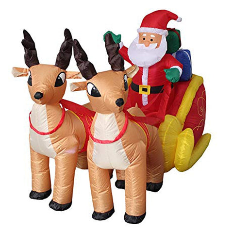 2M-7FT Inflatable Giant Santa Sleigh With Reindeers LED Lighted | Outdoor Decor | All For Xmas - All For Xmas