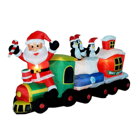 2M-7FT Inflatable Giant Santa Claus On Train with Penguins LED Lighted | Outdoor Decor | All For Xmas - All For Xmas