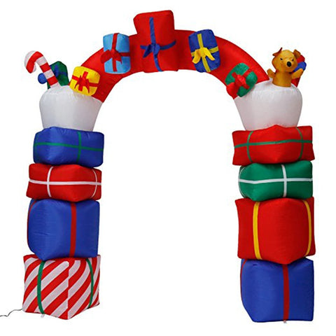 2.4M-8FT Inflatable Giant Christmas Arch Gate With Presents LED Lighted | Outdoor Decor | All For Xmas - All For Xmas