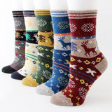 Outdoor Christmas Woolen Winter Reindeer Socks