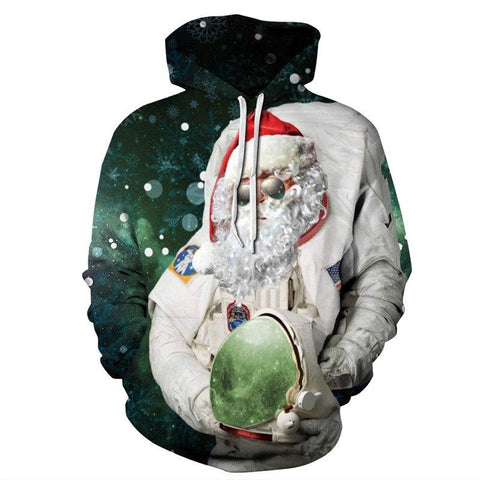 Allover Print Christmas Hoodie - Astro Santa | Christmas Apparel | All For Xmas