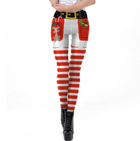 Striped Ugly Christmas Leggings | Christmas Apparel | All For Xmas - All For Xmas
