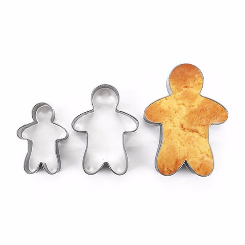 3PCS Stainless Steel Gingerbread Man Cookie Moulds | Christmas Baking | All For Xmas