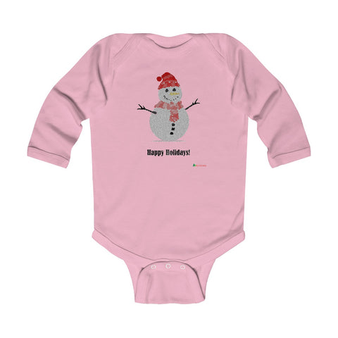 Baby Long Sleeve Bodysuit | Snowman - Happy Holidays | Multiple Colors | Christmas Apparel | All For Xmas
