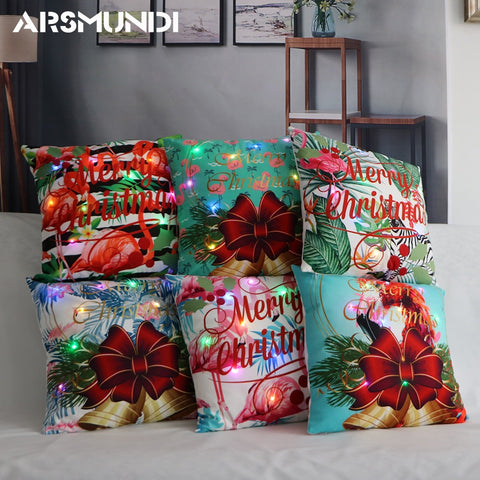 LED Light Merry Christmas Pillow Case Cushion Cover | Home Decor | All For Xmas - All For Xmas