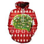 Allover Print Christmas Hoodie - Red Decorations | Christmas Apparel | All For Xmas