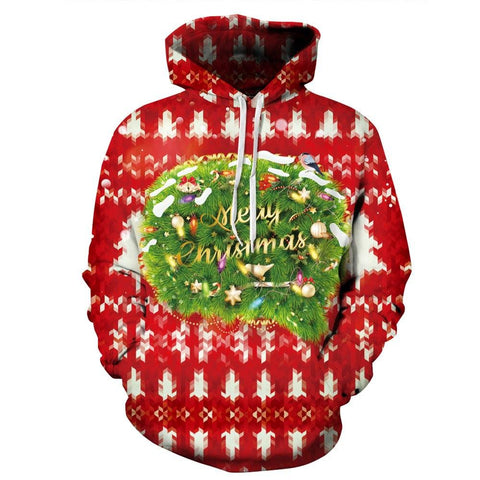 Allover Print Christmas Hoodie - Red Decorations | Christmas Apparel | All For Xmas - All For Xmas