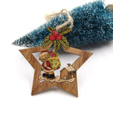 Wooden Printed Star Christmas Ornaments - 4PCS | Tree Decorations | All For Xmas