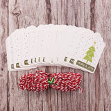 50pcs DIY Christmas Gift Tags Cards + Red String | Gift Decor | All For Xmas