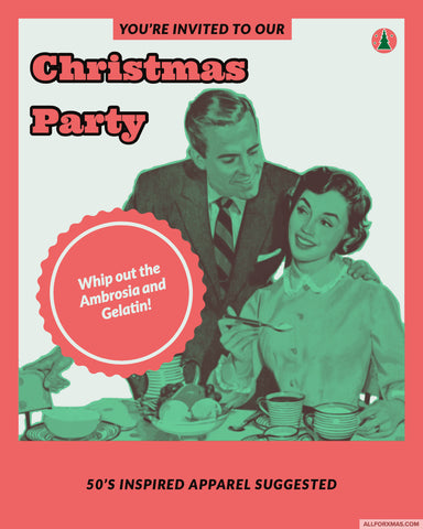 50s Christmas Party Card | Greeting Cards | All For Xmas - All For Xmas