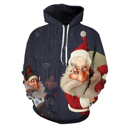 Allover Print Christmas Hoodie - Santa And Elves | Christmas Apparel | All For Xmas