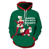 Green Naughty Santa Christmas Hoodie | Unisex Holiday Apparel