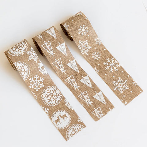 80 Inch Snowflakes, Trees Canvas Ribbon | Christmas Decor | All For Xmas