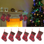 6pcs Set Small Christmas Traditional Plaid Stockings | Home Decor | All For Xmas