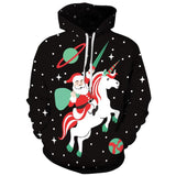 Allover Print Christmas Hoodie - Santa Riding A Unicorn | Christmas Apparel | All For Xmas