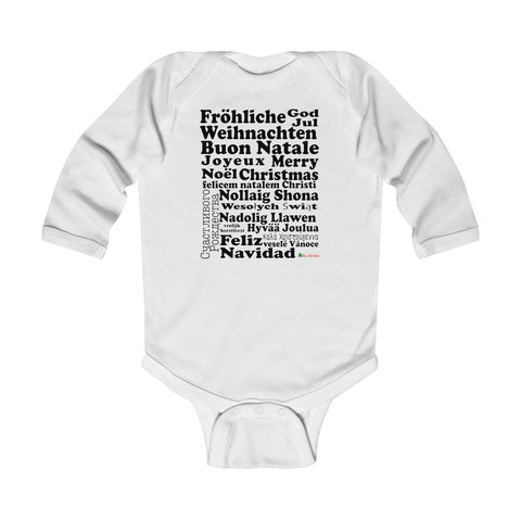 Baby Long Sleeve Bodysuit | Merry Christmas | Multiple Colors | Christmas Apparel | All For Xmas