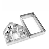 10pcs 3D Gingerbread House Set - Stainless Steel Cookie Cutters