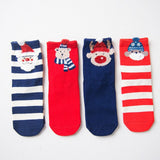 4 Pairs Colorful Short Cotton Blend Women Christmas Socks | Christmas Apparel | All For Xmas