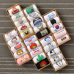 5 Pairs Gift Box Set Cotton Socks Short Harajuku Women | Christmas Apparel | All For Xmas
