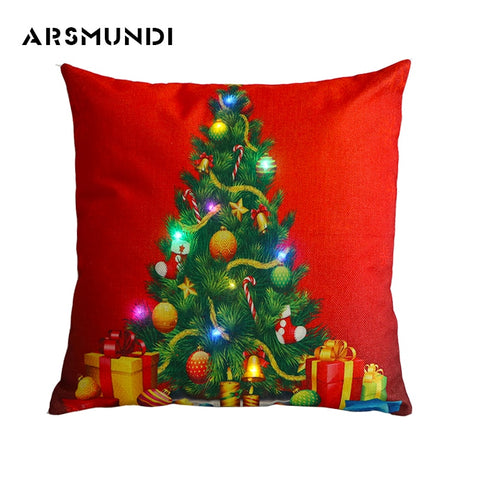 LED Light Christmas Trees Pillow Case Cushion Cover | Home Decor | All For Xmas - All For Xmas