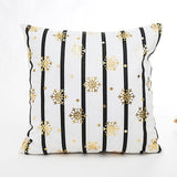 Black White Gold Christmas Cotton Linen Pillow Case Cushion Cover | Home Decor | All For Xmas - All For Xmas