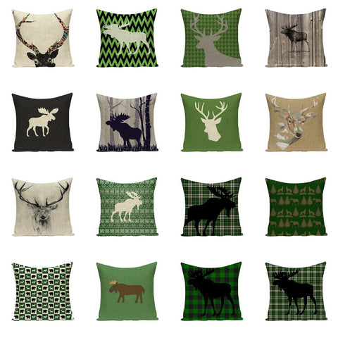 Green Reindeer Christmas Pillow Case Cushion Covers | Home Decor | All For Xmas