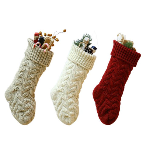 Knitted Christmas Traditional Stocking - 3 Colors | Home Decor | All For Xmas