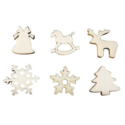 50pcs Pack Wood Chips Christmas Decoration | Mixed Shapes | All For Xmas