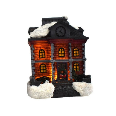 Colorful LED Flashing Christmas Village City Hall - Battery Operated | Christmas Decor | All For Xmas