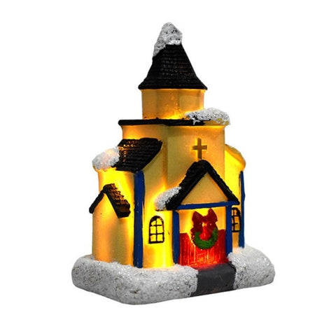 Colorful LED Flashing Christmas Village Church - Battery Operated | Christmas Decor | All For Xmas
