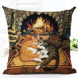Cats Patterns Christmas Cotton Linen Pillow Case Cushion Cover | Home Decor | All For Xmas - All For Xmas